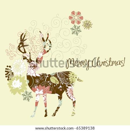 Christmas deer - stock vector