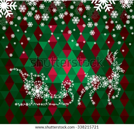 Christmas deer and the words from 2016 snowflakes on the decorative background - stock vector