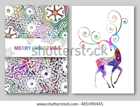 Christmas deer greeting cards or backgrounds. Vector illustration with snowflakes and watercolor effect.