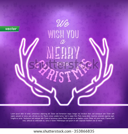 Christmas deer horn design card - stock vector