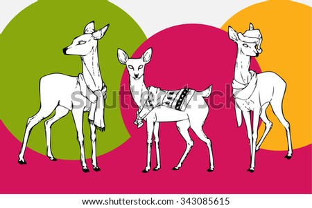 Christmas deer in scarfs, sweaters and Christmas hats. New Year's little fawns. Black-and-white deer. Deer set. Vector illustration. - stock vector