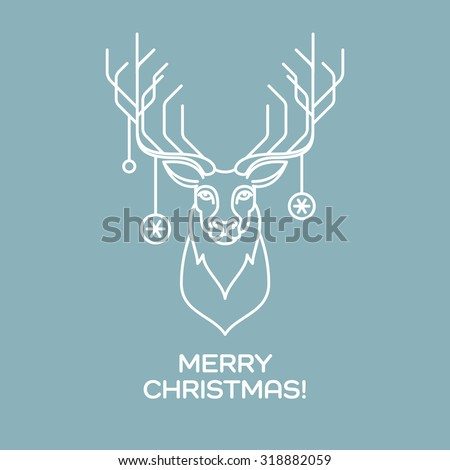 Christmas deer. Line art. Vector illustration EPS 10 - stock vector