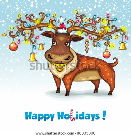 Christmas deer. Merry Christmas and Happy new year! - stock vector
