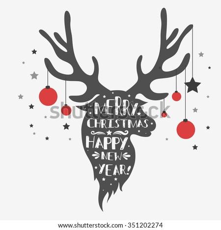 Christmas Deer Merry Christmas Happy New Stock Vector
