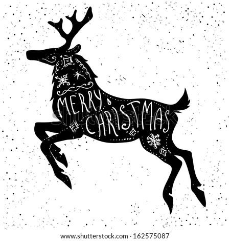 Christmas Deer Silhouette Stock Vector 162575087 - Shutterstock