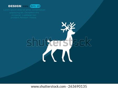 Christmas deer symbol, web icon. vector design - stock vector