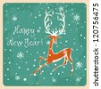 Christmas deer, Vintage vector seamless illustration Greeting card - stock vector