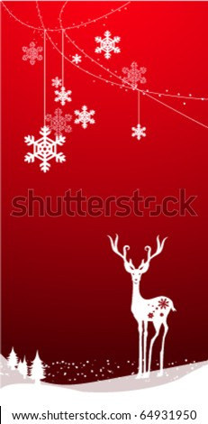 christmas deer with snowflakes, vector background - stock vector