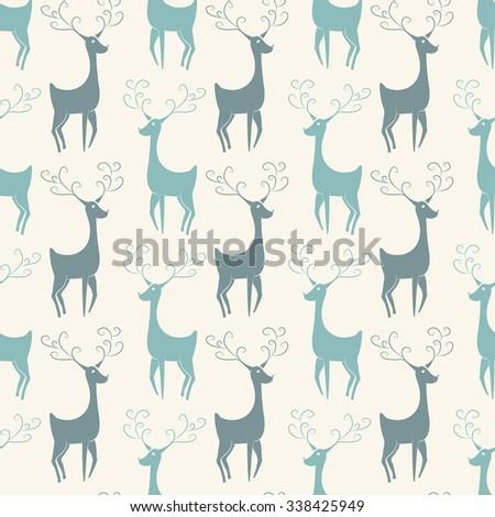 Christmas deers. Vintage vector seamless illustration - stock vector