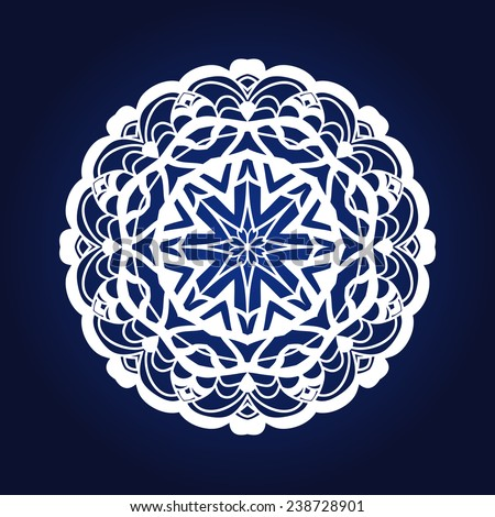 Christmas delicate snowflake, festive mandala, lace element for design - stock vector