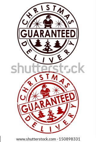 Christmas delivery rubber stamp on a white background. - stock vector