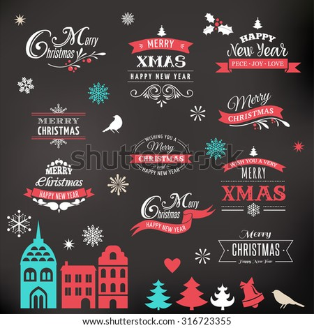 Christmas design collection, Set of lettering and typographic elements, icons, vintage labels. . Ribbons, xmas village and stickers - stock vector
