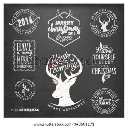 Christmas Design Elements, Badges and Labels in Vintage Style on Chalkboard - stock vector