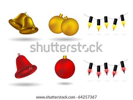 Christmas Design Elements - bells, balls, and lights vector illustration - stock vector