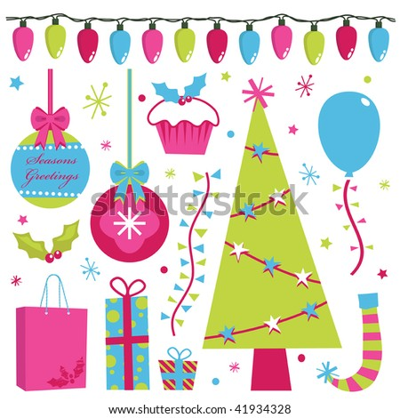 christmas design elements in pink green and blue - stock vector
