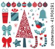 christmas design elements in red and blue with tree, decorations and gifts - stock vector