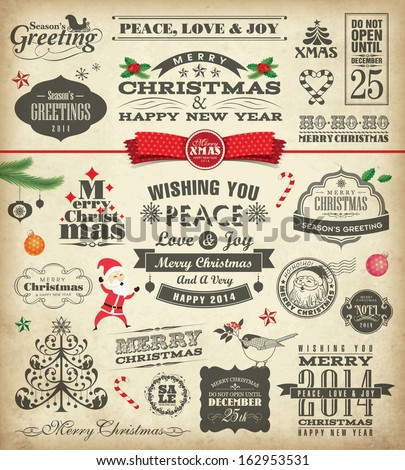 Christmas design elements in vintage style - stock vector