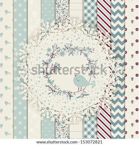 Christmas Design Elements: patterns, frame and cute seamless backgrounds, Christmas wreath with birds. For design or scrap booking. - stock vector