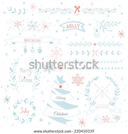 Christmas design elements set. EPS 10. No transparency. No gradients. - stock vector