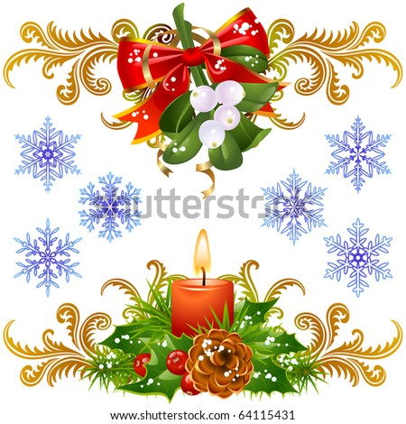 Christmas design elements set 3. Mistletoe, candle and snowflake - stock vector