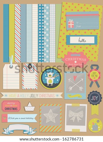 Christmas Design Elements: teddy bear, frames, ribbon, tag, star, flag, photo frame and cute seamless backgrounds. For design or scrap booking. - stock vector