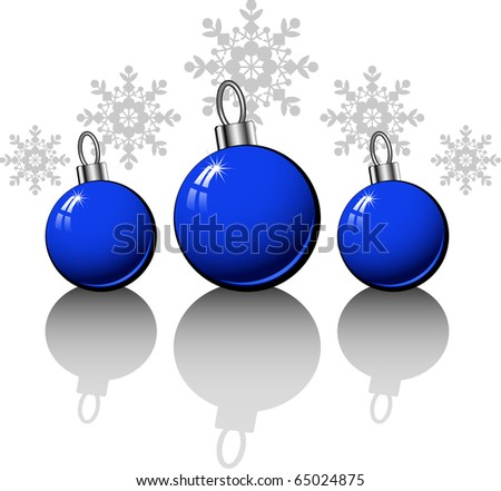 Christmas design elements with blue balls over white - stock vector