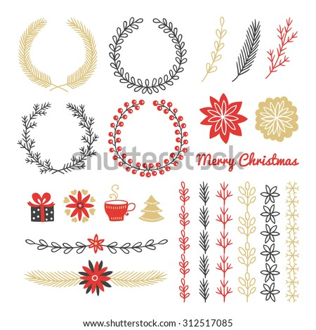 Christmas design elements. Wreaths, branches, headers, icons (gift, flowers, cup, Christmas tree), brushes. All brushes included in swatch palette in the file. Best for greeting cards, invitations   - stock vector