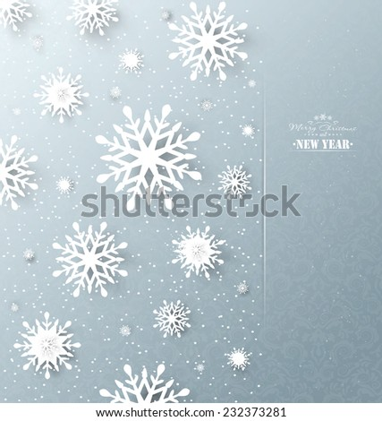 Christmas Design Holiday Background With Snowflakes And Title Inscription - stock vector