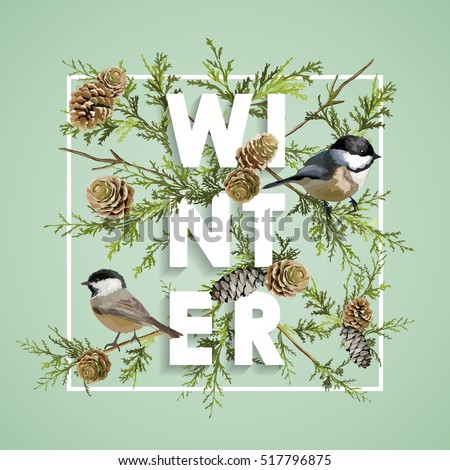 Christmas Design in Vector. Winter Birds with Pines Retro Background. T-shirt Fashion Graphic.
