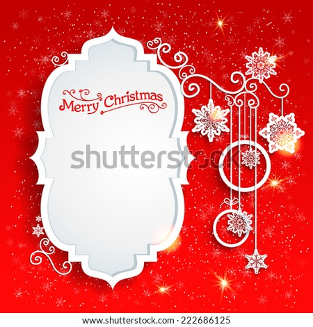 Christmas design on red background with place for text - stock vector