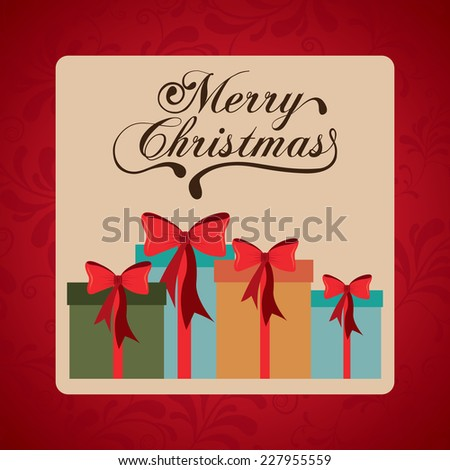 Christmas design over red background,  vector illustration