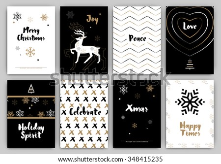 Christmas Design Set - Trendy Holiday Themed Collection ideal for gift tags or print in black white and gold - stock vector