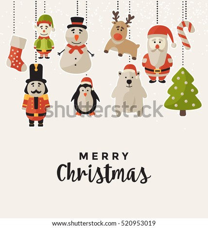 Christmas Design with Hanging Characters - Greeting Card for the Winter Holiday Season