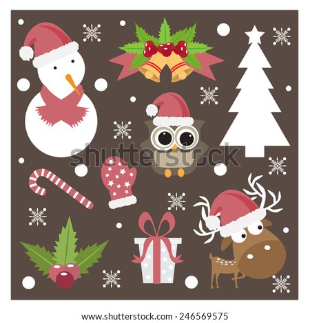 Christmas designing element set. vector