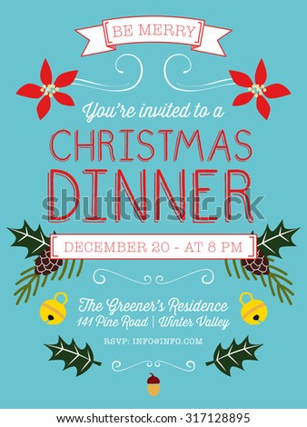 Christmas Dinner Invitation Flyer On Red Stock Vector