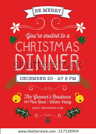 Christmas Dinner Invitation Flyer On Red Stock Photo Photo Vector