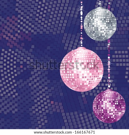 Christmas disco balls on abstract background with space for you text - stock vector