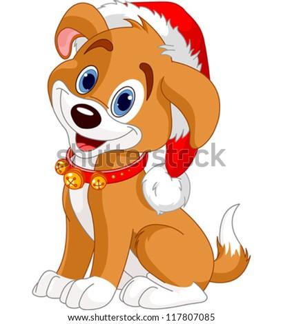 Christmas dog with Santa hat - stock vector