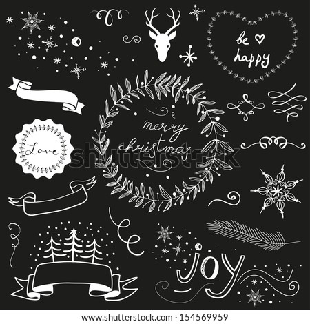 Christmas doodle chalkboard graphic set: deer head, hearts, laurel, wreaths, snowflakes, ribbons and labels. - stock vector