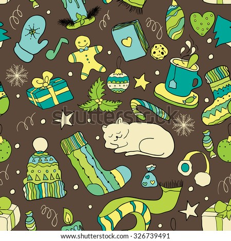 Christmas doodle collection, hand drawn new year elements. Seamless pattern for your design.