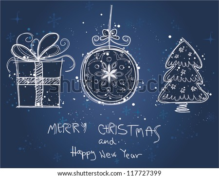 Christmas doodles.Vector illustration - stock vector