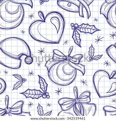 Christmas doodles vector seamless pattern on a check background - stock vector