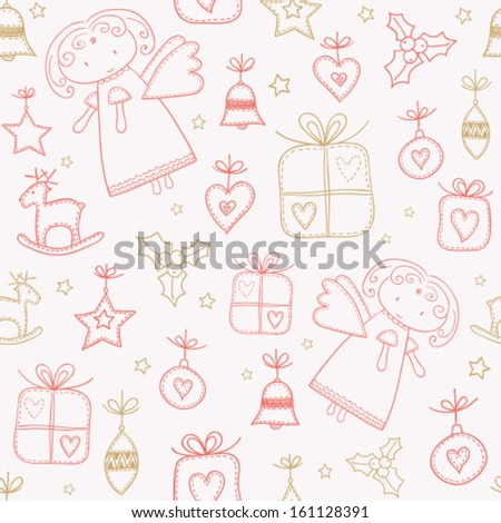 Christmas doodles with angel, seamless pattern background