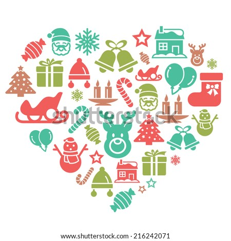 Christmas Element Icons in Heart Shape - stock vector