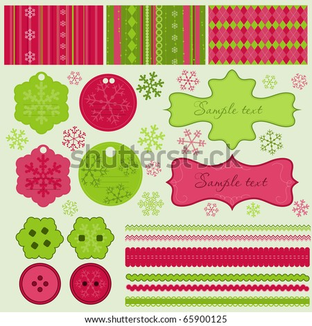 Christmas elements and patterns in vector - stock vector