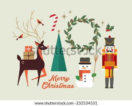 christmas elements/ greeting card template vector/illustration - stock vector