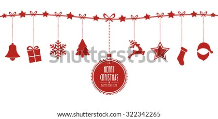christmas elements hanging line red isolated background - stock vector