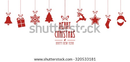christmas elements hanging red isolated background - stock vector