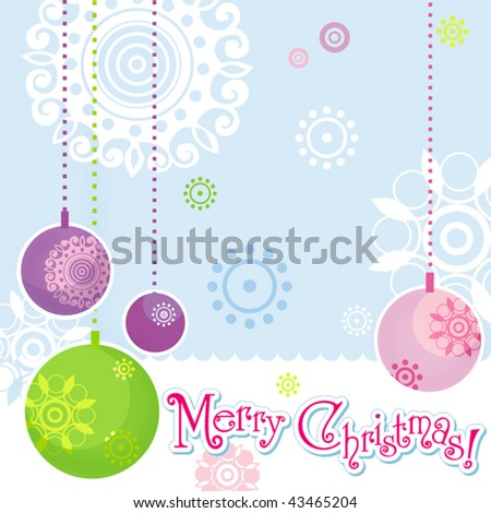 Christmas Elements Illustration, seamless pattern background with floral and hanging ball. Vector graphic set. - stock vector