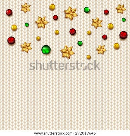 Christmas elements on white knitted background, illustration. - stock vector